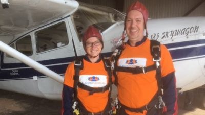 Bethany Norman and Iain Fergusson sky dive for autism